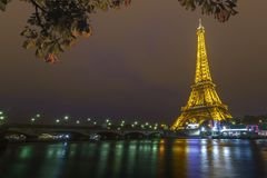 Eiffel Tower at Night and the Iena Bridge
