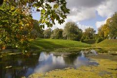 Autumn View im Park und im Teich Stockbild