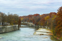 Autumn view with Isar river in Munich, Germany Stock Images