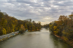 Autumn view with Isar river in Munich, Germany Royalty Free Stock Photo