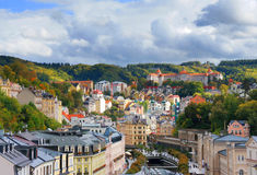 Autumn view of Karlovy Vary (Karlsbad). View of Karlovy Vary (Karlsbad) from Thermal hotel pool, Czech Republic. September 2012 Royalty Free Stock Image