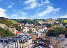 Autumn view of Karlovy Vary (Karlsbad). View of Karlovy Vary (Karlsbad) from Thermal hotel pool, Czech Republic. September 2012 stock image
