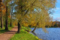 Autumn view with lake in Catherine garden in Pushkin. Royalty Free Stock Photo