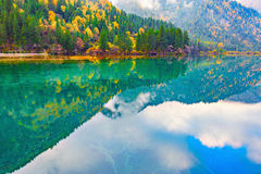 Autumn view of the lake with pure water. Stock Images