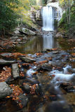 An Autumn view of Looking Glass Falls, Western NC. A vertical autumn look upstream at this beautiful waterfall which lies in the heart of the Pisgah National Stock Photography