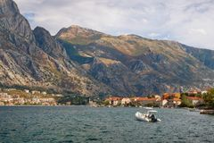 Autumn view of Lovcen mountain from Prcanj town.  Bay of Kotor Adriatic Sea, Montenegro Royalty Free Stock Photo