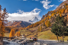 Autumn view of Matterhorn peak from Zermatt Stock Photos