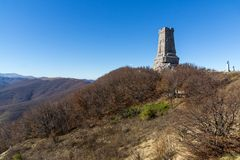 Autumn view of Monument to Liberty Shipka, Bulgaria Royalty Free Stock Images