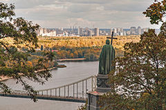 Autumn view of the monument to Vladimir, Kiev, Ukraine. Autumn view of the Dnipro river, bridge, monument to Vladimir, Kiev, Ukraine Royalty Free Stock Image