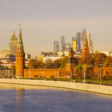 Autumn view of the Moscow center at sunrise time. Stock Photo