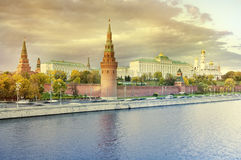 Autumn view of Moscow Kremlin at sunset. Stock Images