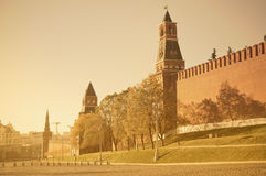 Autumn view of Moscow Kremlin wall. Royalty Free Stock Image