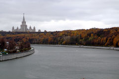 Autumn view of the Moscow University, Sparrow Hills. Royalty Free Stock Image