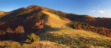 Autumn view of a mountain settlement Royalty Free Stock Photo