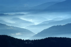 Autumn view from mountains. A view from mountains to the valley covered with smog Stock Photography