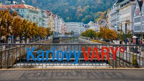 Autumn view of old town of Karlovy Vary Carlsbad, Czech Republ royalty free stock photo