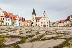Autumn view of old town market square in Bardejov, Slovakia Stock Photography