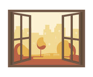 Autumn View of the Open Window Royalty Free Stock Photography