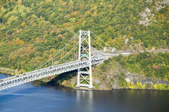 Autumn view overlook at 1300 feet of Bear Mountain Bridge and Hudson Valley and River at Bear Mountain State Park, New York Stock Image
