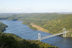 Autumn view overlook at 1300 feet of Bear Mountain Bridge and Hudson Valley and River at Bear Mountain State Park, New York Stock Photography