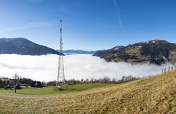 Autumn View Panorama Radenthein Mitterberg With Fog In The Valley Royalty Free Stock Photography