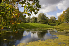 Autumn View in the Park and pond Stock Image
