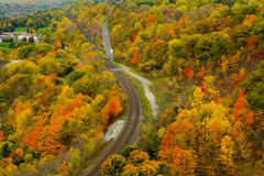 Autumn view from peak Stock Images