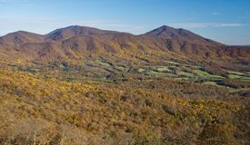 An Autumn View Peaks of Otter, Bedford County, Virginia, USA. Autumn view of the Peaks of Otter located in the Blue Ridge Mountains, Bedford County Virginia, USA stock images