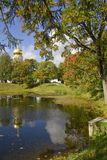 Autumn View on the pond and Feodorovsky cathedral  Stock Images
