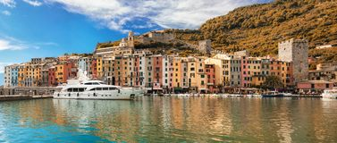 Autumn view of Porto Venere and Ligurian Sea at noon time. stock photo