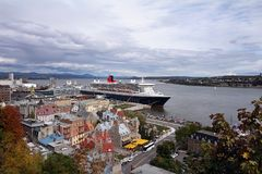 Autumn view of Quebec City and the St. Lawrence River. royalty free stock photo