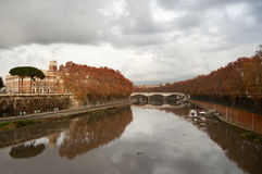 Autumn view of the river Tiber Royalty Free Stock Image