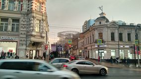 Rostov-on-Don. Autumn view of Rostov-on-Don, Russia road and buildings street stock photography