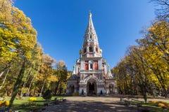 Autumn view of Russian church Monastery Nativity in town of Shipka, Bulgaria. Autumn view of Russian church Monastery Nativity in town of Shipka, Stara Zagora royalty free stock photography