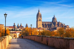 Autumn view of Salamanca with old bridge  and Cathedral Stock Photo