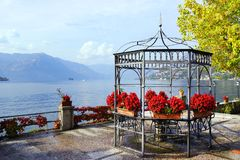 Autumn view from Sale Marasino over Iseo Lake. Marone town to the right. Lago d`Iseo or Sebino is the fourth largest lake in Lombardy, Italy, fed by the Oglio stock photography