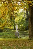Autumn View with scilpture in old Pavlovsk  Park Stock Photography