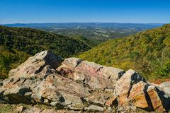 Autumn View from the Blue Ridge Mountain of Shenandoah Valley stock image