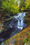 Autumn view of a small waterfall Royalty Free Stock Image