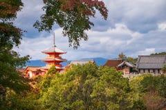 Autumn view of the Stage of Kiyomizu, the famous veranda at the Iconic Kiyomizu-dera Buddhist temple. The Stage of Kiyomizu, the famous veranda at the Iconic royalty free stock photography