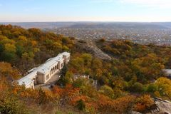 Autumn. View to the Elisabeth Academic Gallery in Pyatigorsk, Russia. Autumn. View from the Goryachaya mountain spur of Mount Mashuk to the Elisabeth Academic Stock Images