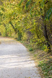 Autumn view of trail on the riverside stock images