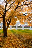 Novgorod Kremlin and Yaroslav Courtyard arch, Veliky Novgorod, Russia. Autumn view. Autumn view of Veliky Novgorod, Russia. Novgorod Kremlin and Yaroslav Stock Photography
