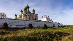 Autumn view of the walls and the Uspensky Cathedral in Goritsky monastery. Pereslavl-Zalessky. Russia. Stock Photos