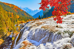 Autumn view of the waterfall with pure water. Royalty Free Stock Photos