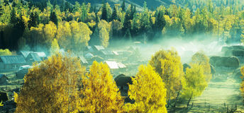 Autumn village Baihaba, xinjiang,china Royalty Free Stock Photography