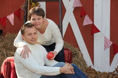 Autumn the village a beautiful young couple Royalty Free Stock Photography