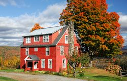 Autumn village house in New England town with bright color in sunny day Stock Photos
