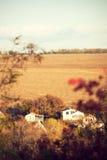 Autumn village landscape with houses Stock Images