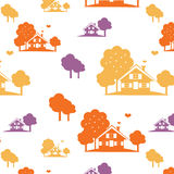 Autumn village pattern Stock Photos